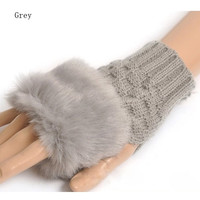 Fashion Cute Faux Rabbit Fur Hand Winter Warmer Knitted Fingerless Gloves Mitten 10 colors = 1932167108