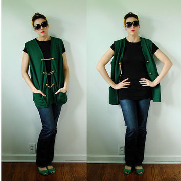 VINTAGE 1950s KELLY Green & Gold Summer Vest Lady Devon Military Buttons