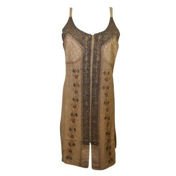 Mogul Womens Ethnic Embroidered Dress Brown Stylish Summer Boho Chic Tie Back Shift Tank Dresses - Walmart.com