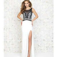 White Gown With Sheer Back & Black Geometric Beading