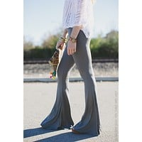 Cher Solid Flare Pants - Charcoal