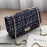 Women Fashion Multicolor Metal Chain Single Shoulder Messenger Bag Small Square Bag  Handbag