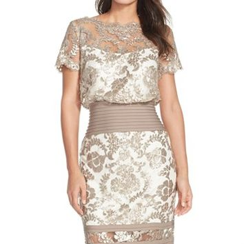 Women's Tadashi Shoji Sequin Embroidered Blouson Dress,