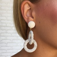 Well Connected Bead Earrings In Ivory