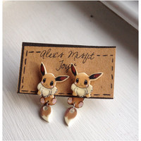 Kawaii Eevee Pokemon Clinging Earrings Fake Gauges