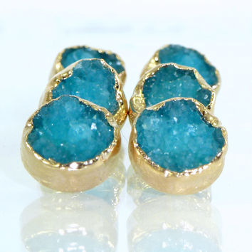 Stud Earrings, Agate ,Blue Druzy Stud Earrings,Blue Druzy Post Earrings,Gold Earrings,Druzy Bezel Sets,Gemstones Stud Earrings,Druzy Jewelry