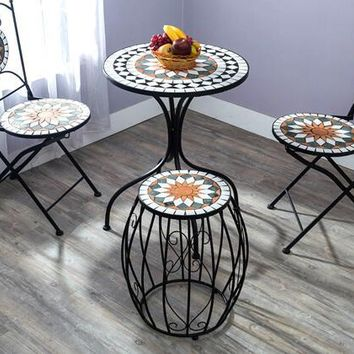 Ou shi, wrought iron courtyard outdoor Mosaic table and chair. Chairs and tables of tea table