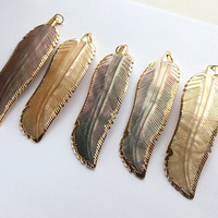 Large Shell Wing Necklace Mother of Pearl Necklace MOP Feather Gold Edged Shell Mother of Pearl Jewelry Wing Jewelry Boho Wing Pendant