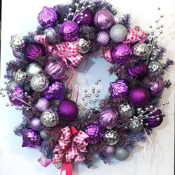 Purple, Pink and Silver Holiday Wreath - Handmade Christmas Door Wreath in Purple and Silver Ornaments with Pink Polka dot ribbon