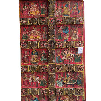 Antique Doors Indian Ganesha Hand Painted Barn Door ZEN Yoga Studio Decor
