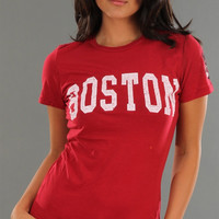 Retro Sport Boston University Washed Crew Neck Tee in Red
