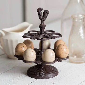 Cast Iron Rooster Egg Display