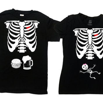 Halloween Pregnancy Announcement Shirt Couples Costume T Shirts Maternity Clothing Pregnant Clothes New Mother Father To Be - SA456-379
