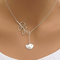 """James"" Elegant Silver Chain Bird & Leaf Pendant Necklace"