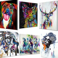 Modern Abstract Huge Wall Art Watercolor Oil Painting HD Photo Print Canvas Unframed:Animal