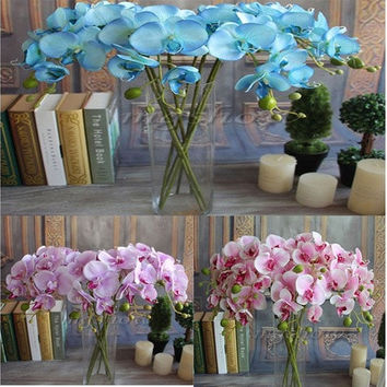 Artificial Butterfly Orchid Silk Flower Wedding Party Phalaenopsis Bouquet [7978669511]
