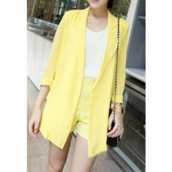 Tailored Collar Solid Color Refreshing Style Chiffon Women's Blazer