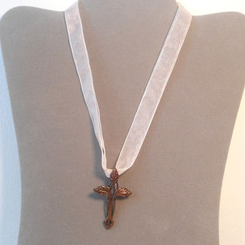 Copper Cross n a Pink Ribbon Necklace/Choker religious womens teen child hippie boho gypsy cowgirl glam style jewerly easter