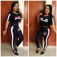 FILA Women Fashion Long Sleeve Top Pants Set Two-Piece L6018