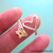 925 Heart Key ring jewelry - Adjustable Sterling silver promise ring for girlfriend 090612