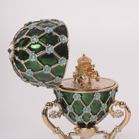 Green Faberge Egg with Blue Flowers & Gold Carriage Inside Handmade Trinket Box by Keren Kopal Decorated with Swarovski Crystals Gold Plated