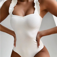 One-piece ladies bikini solid color wooden ear straps sexy one-piece swimsuit
