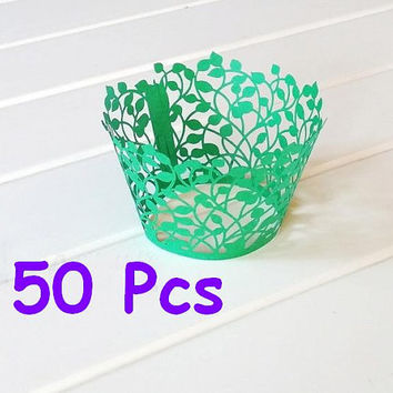Leaf Leaves Laser cut cupcake wrappers Stencil laser wrapper muffin Wrappers party cake wrapper lace wrapper Christenings Baby Showers