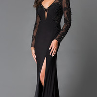 Long Black V-Neck Sean Prom Dress with Long Sleeves SN-50888