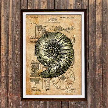 Nautical print Seashell poster Patent decor Steampunk print SOL105