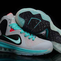 nike air lebron ix 9 south beach blue and grey and black womens sneakers