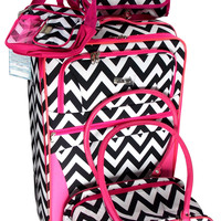 Luggage Chevron Black White Pink 4 Pc Travel Set 360 Spinner Messenger Gadget