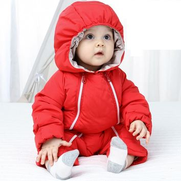 Newborn Baby Girls Boys Clothes White Duck Down Jackets Winter 2017 Padded Bodysuits Double Zipper Baby Thicken Snowsuit IY233