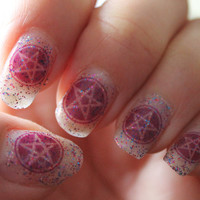 72 PURPLE PENTACLE SYMBOLS -Nail Art Decals Transparent Waterslide Wiccan Gothic SteamPunk
