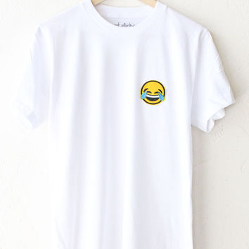 Tears of Joy Emoji Tee - White
