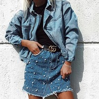 Irregular Denim Dress Skirt [362176839709]