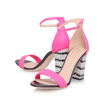Kurt Geiger | ISABELLA Pink Mid Heel Sandals by Kurt Geiger London