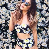 HOT FLOWER DAISY TWO PIECE BLACK BIKINIS