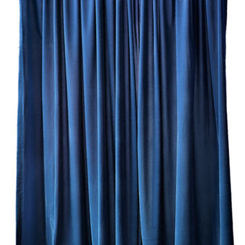 Nice Custom Made Modern Home Living Room Bedroom Window Treatments Navy Blue Flock Velvet 84 inch Curtain Long Panels