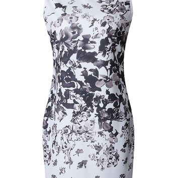 Streetstyle  Casual Chic Round Neck Floral Printed Bodycon Dress