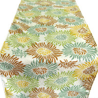 """6 ft. Table Runner - 12"""" x 72"""" - Green Teal Beige Brown Gold Mums - Everyday, Wedding - Reversible Table Topper"""
