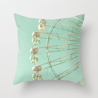 Winter Ferris Wheel  Throw Pillow by Andrea Caroline