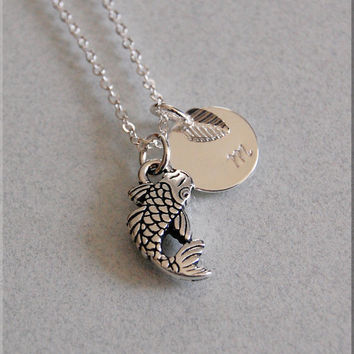 Personalized Koi Fish Necklace, Tranquility Necklace, Koi Fish Jewelry, Initial charm necklace, Fish Necklace, Koi Fish Charm