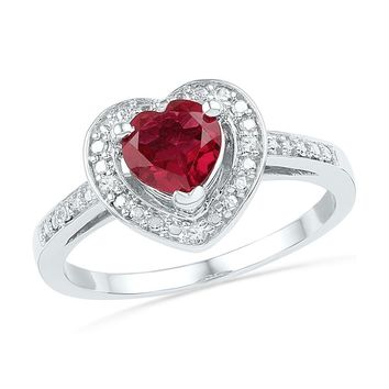 Sterling Silver Women's Round Lab-Created Ruby Heart Diamond Ring 1-1/8 Cttw - FREE Shipping (US/CAN)