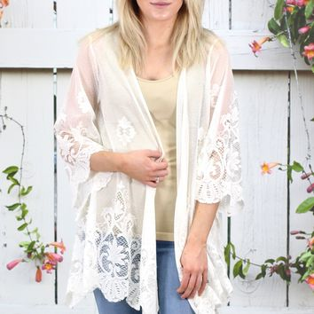 Sheerly Romantic Lace Kimono {Off White}