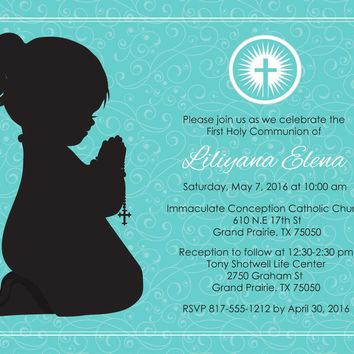 Girl Kneeling First Communion Invitations