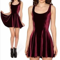 New 2016 Autumn Velvet Wine red Evil Skater Dress Velvet Casual Dress Party Dresses Plus Size Women Clothing