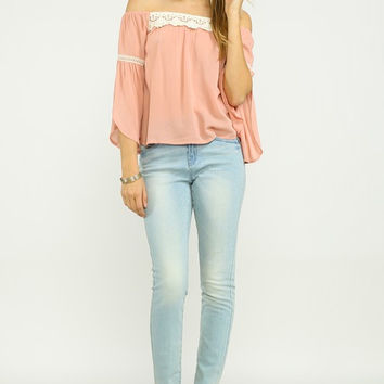 Blissfully Sweet Off-The-Shoulder Top in Blush