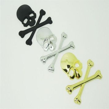DCCKIX3 3D Stickers Accessories Decal Skull Metal Skeleton Crossbones Car Motorcycle Sticker Cool Label Skull Emblem Badge Car Styling