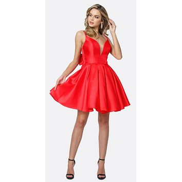 Short Party Dress Red A-Line Removable Back Bow