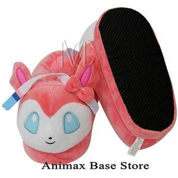 Children's Anime Pokemon Go Sylveon Full Stuffed Plush Slippers Cotton Home Plush Sl